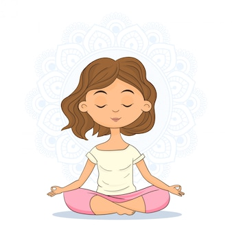 Woman sitting in yoga position and meditating