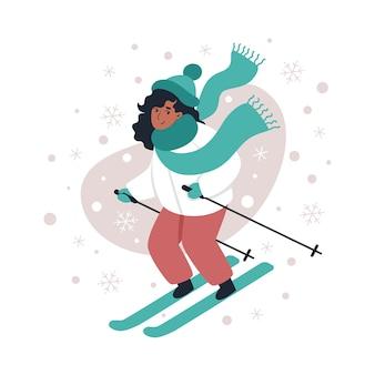 Женщина на лыжах зимой