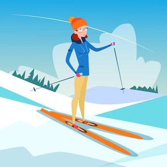 Woman skiing winter activity sport
