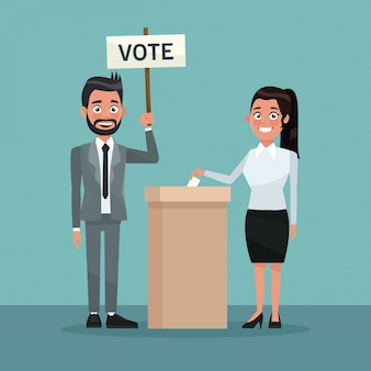 Woman in skirt vote in urn for candidate and bearded man in formal suit with poster