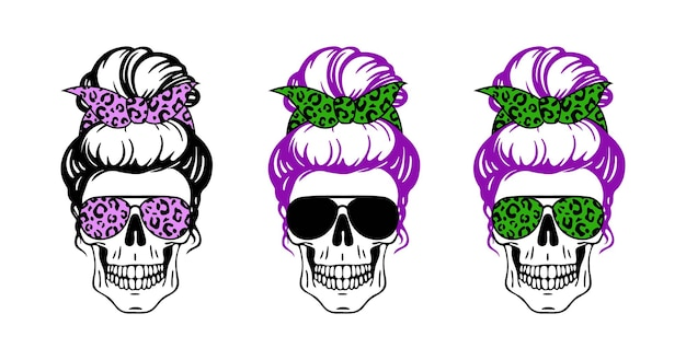 Woman skull set with sunglasses bandana with leopard print isolated on white mom skull messy bun