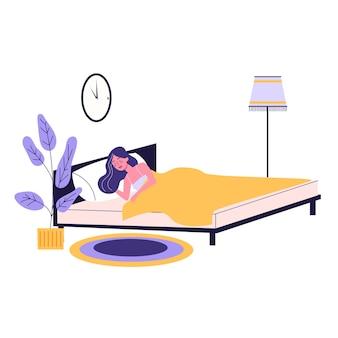 Женщина спит. человек отдыхает в постели на подушке поздно ночью. спокойный сон и отдых. иллюстрация в мультяшном стиле