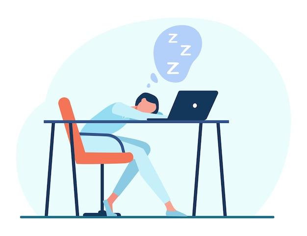 ノートパソコンでテーブルで寝ている女性。漫画イラスト