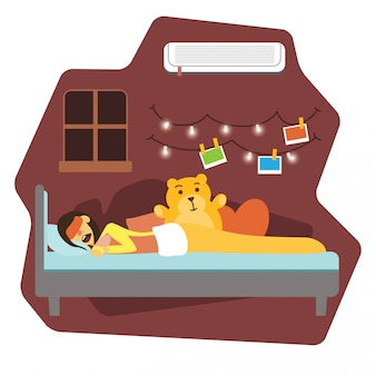 Woman sleeping in bed illustration