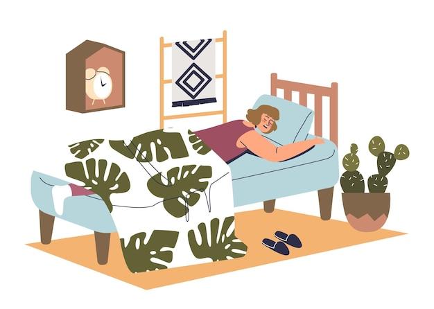 Женщина спит удобно лежа под одеялом в постели с комфортным матрасом. молодая женщина дремлет или мечтает. концепция здорового сна. плоские векторные иллюстрации шаржа