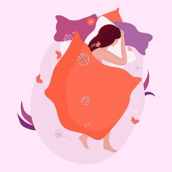 Женщина спит в уютной кровати, концепция ночного сна, иллюстрация