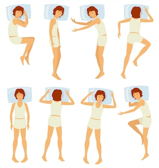 Woman sleeping postures