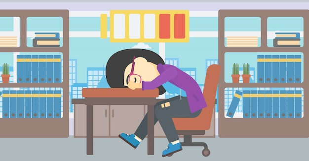 Woman sleeping at workplace vector illustration.