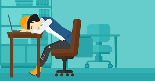 Woman sleeping on workplace.