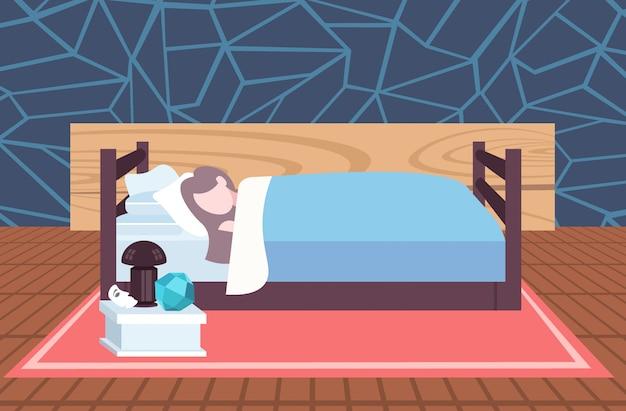 Женщина спит молодая девушка лежа в постели современная спальня интерьер женский мультипликационный персонаж горизонтальный полная длина