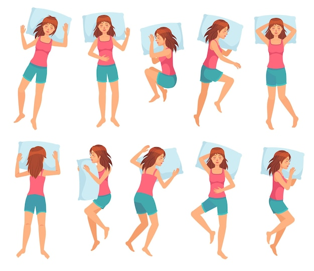 Woman sleeps in different poses.