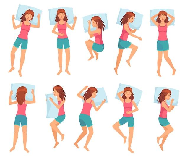 Женщина спит в разных позах.