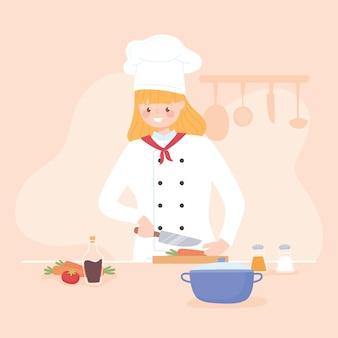 キッチンのイラストでニンジンのような新鮮な野菜をスライスする女性