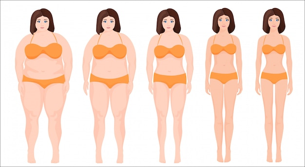 Woman slimming stage progress