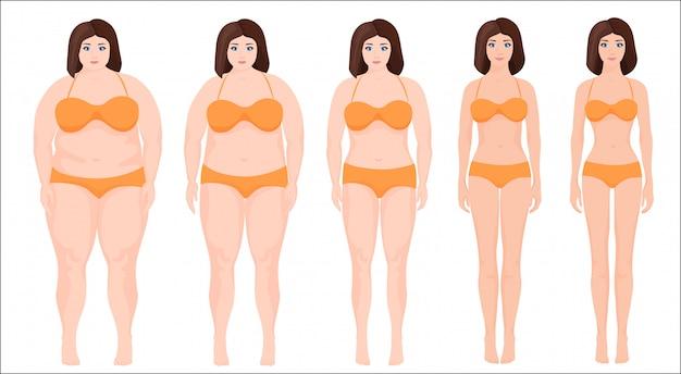 Прогресс этапа похудения женщины | Премиум векторы