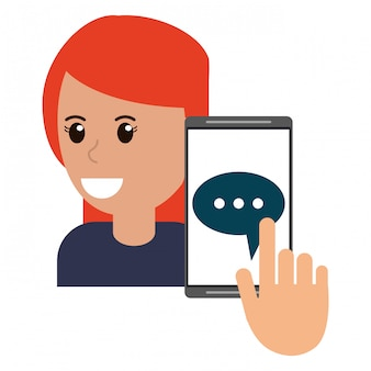 Woman and smartphone chat