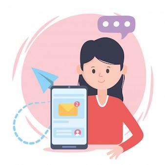 女性スマートフォンメールトークソーシャルネットワークコミュニケーションとテクノロジー