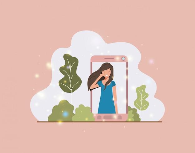 Woman in smartphone on landscape