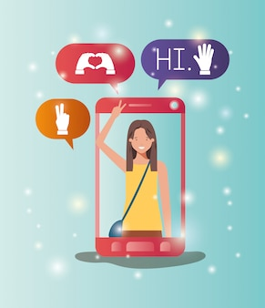 Woman in smartphone with social media bubbles