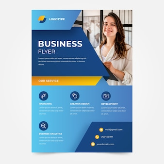 Woman smiling company business flyer template