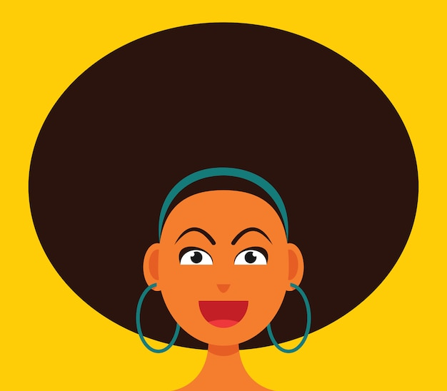 The woman smiling face with big afro hair.