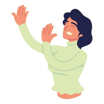 Woman smiling raised hands