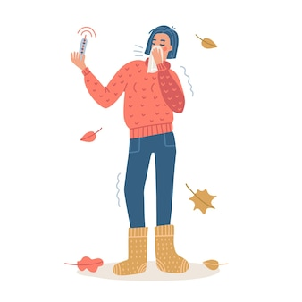 Woman sneeze covered by tissue. coronavirus covid-19 outbreak concept. female full-length character wearing a sweater and knitted socks and holding a thermometer in hand. vector flat illustration