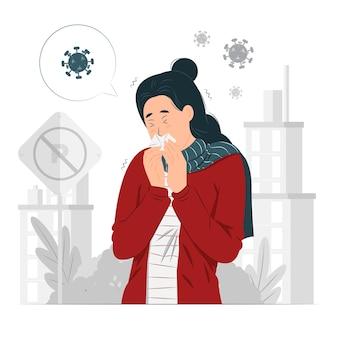 Женщина чихает с вирусом вокруг