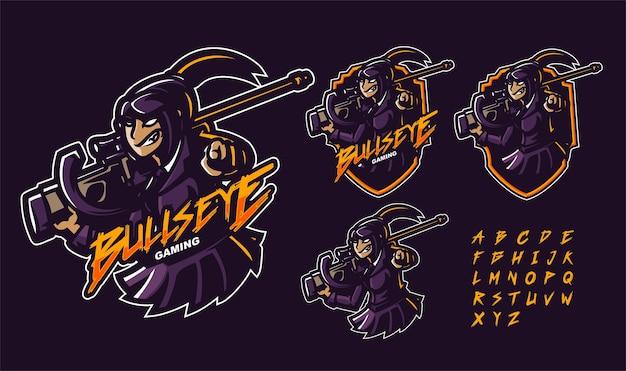 Шаблон логотипа талисмана женщина-снайпер премиум-класса