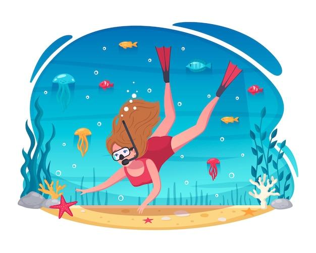 Иллюстрация шаржа подводного плавания женщина