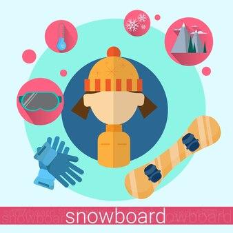 Woman snowboard icon