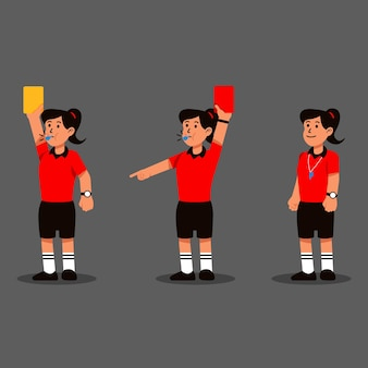 Woman soccer referee action character collection