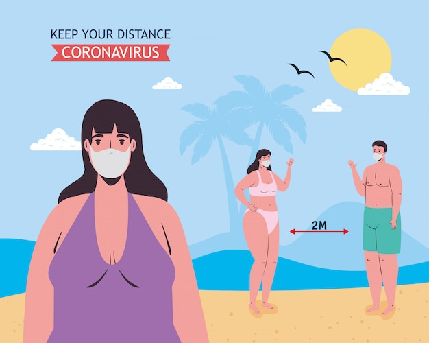 Woman and social distancing between boy and girl with medical masks at the beach vector design