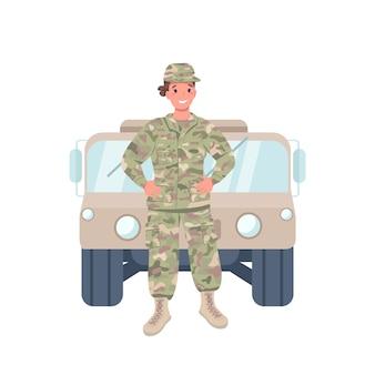 Женщина-солдат плоский цвет подробный характер. веселая женщина, работающая в вооруженных силах. гендерный баланс. командир изолировал иллюстрации шаржа для веб-графического дизайна и анимации