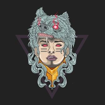 Woman soldier winter wolf head tribal tattoo