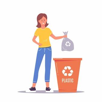 쓰레기를 분류하는 여자. 환경을 생각하고 재활용 및 재사용을 위해 쓰레기통, 쓰레기 수거통 또는 용기에 쓰레기를 넣는 행복한 여성 캐릭터. 제로 웨이스트 개념