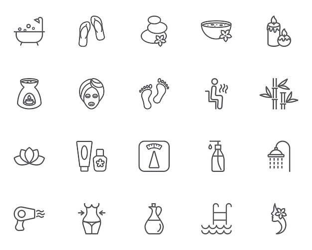 Woman spa icons set