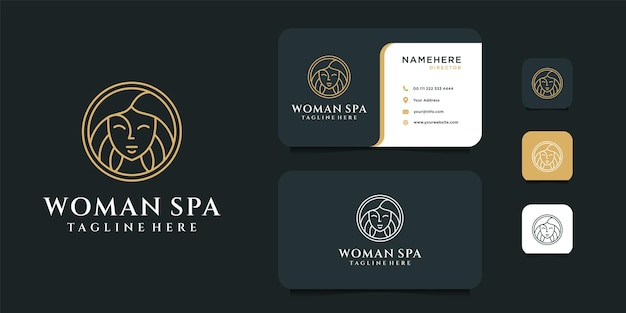 Woman spa logo design with business card template.