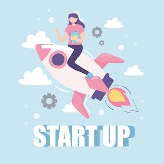 Woman on spaceship startup