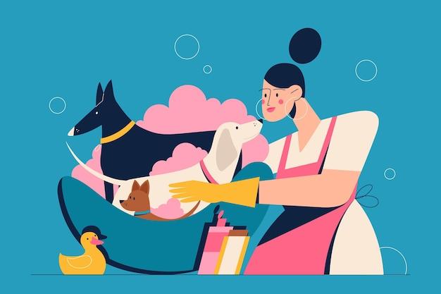 女性の専門家は、ペットのグルーミングのバスハブのイラストでさまざまな品種の犬を洗います