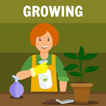 Woman spraying house plant vector illustration