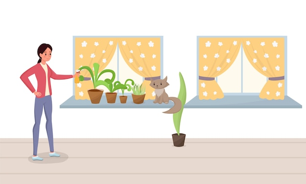 Woman spraying potted plants flat