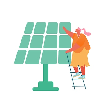 Woman stand on ladder near solar panel