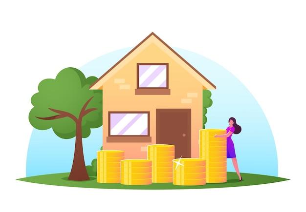 Женщина стоит возле кучи золотых монет перед коттеджем. женский персонаж копит и собирает деньги, открытый банковский депозит для покупки недвижимости