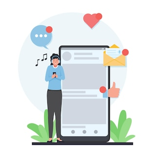 Woman stand next to phone and hear music with happy face and like love icon