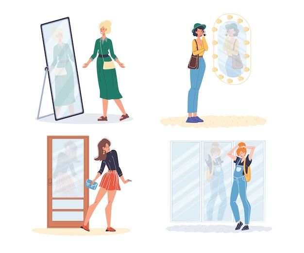 鏡に立っている女性。