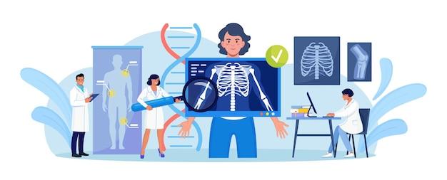 胸の検査のためにx線装置の後ろに立っている女性。 x線医療診断、骨骨格検査。患者の病気を診断するための放射線ボディスキャナー。胸骨のレントゲン