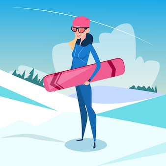 Woman standing hold snowboard winter activity