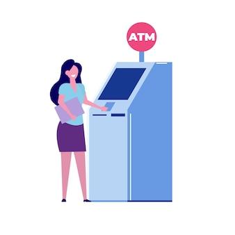Atm 기계 근처에 서 있는 여자. 벡터 평면 스타일 그림입니다.