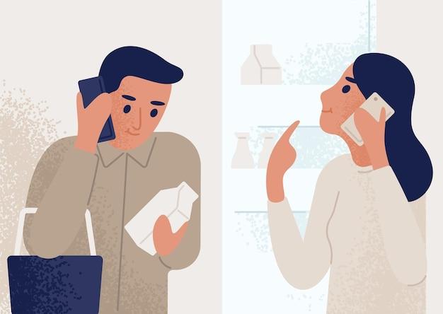 열린 냉장고 근처에 서서 식료품 쇼핑을하는 사람에게 휴대 전화로 이야기하는 여자